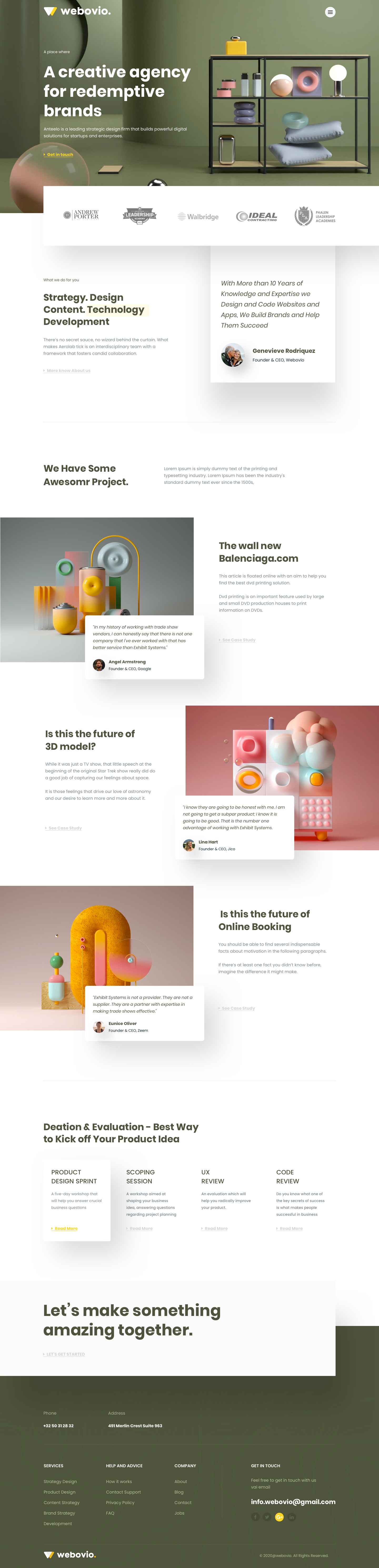Webovio - Creative Agency Landing Page - Elegant and clean landing page desing for creative agency.