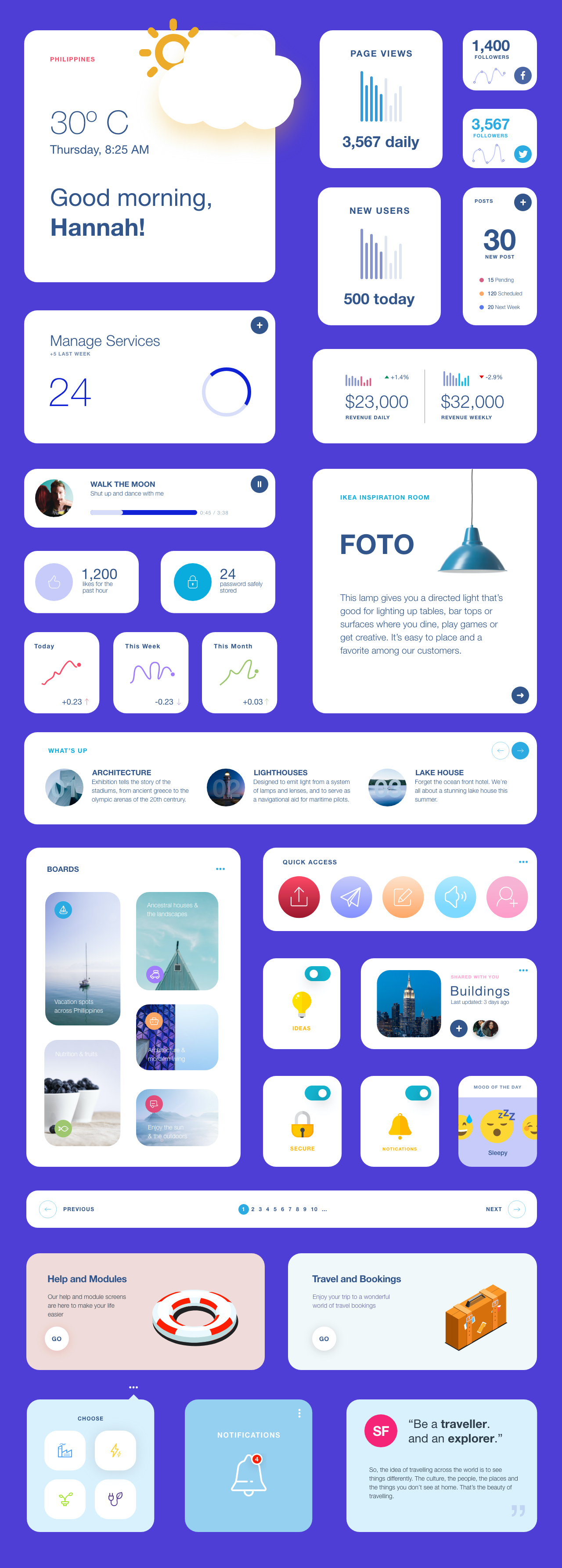 Widgets Free UI Kit - Elegant and clean template for any kind of app.