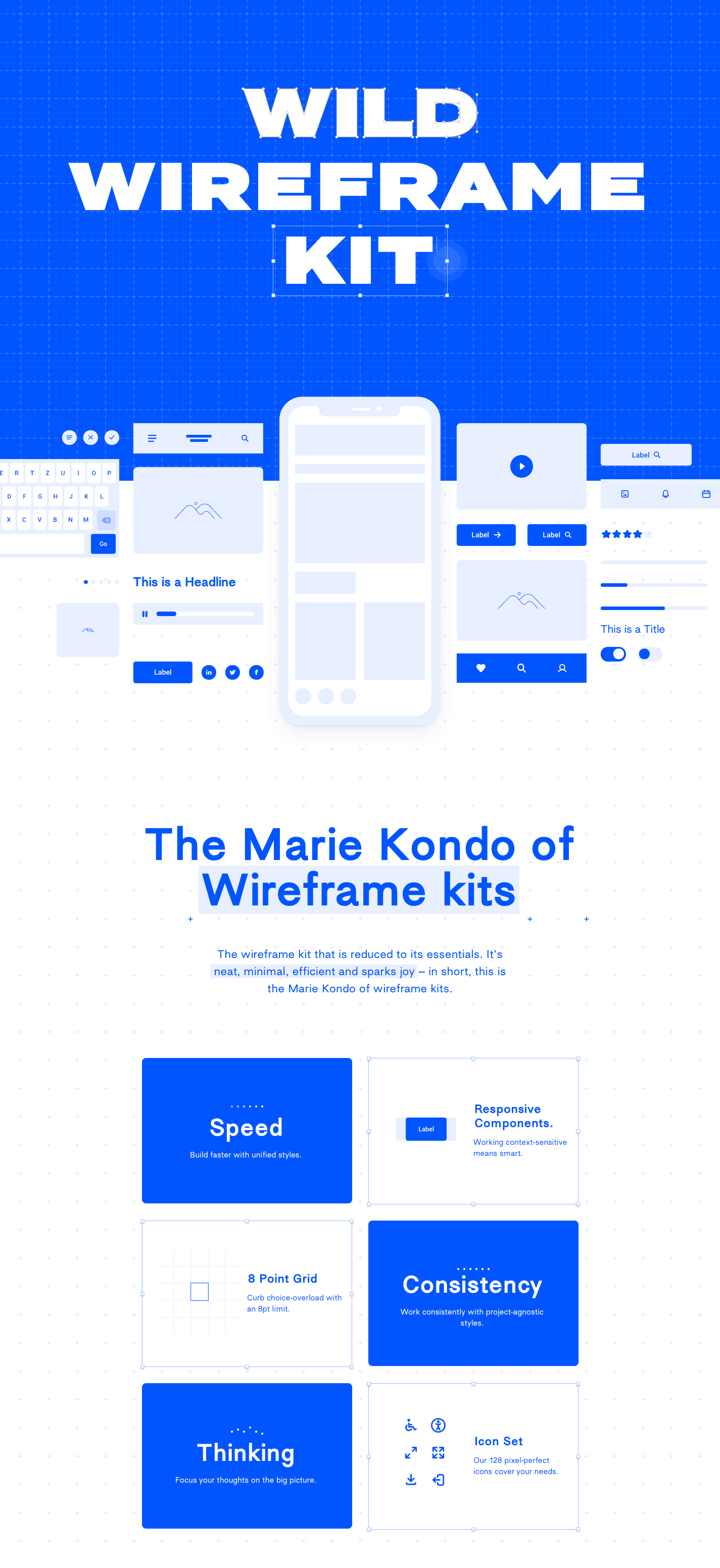 Wild Wireframe Kit for Sketch - The wireframe kit that is reduced to its essentials. It's neat, minimal, efficient and sparks joy – in short, this is the Marie Kondo of wireframe kits.