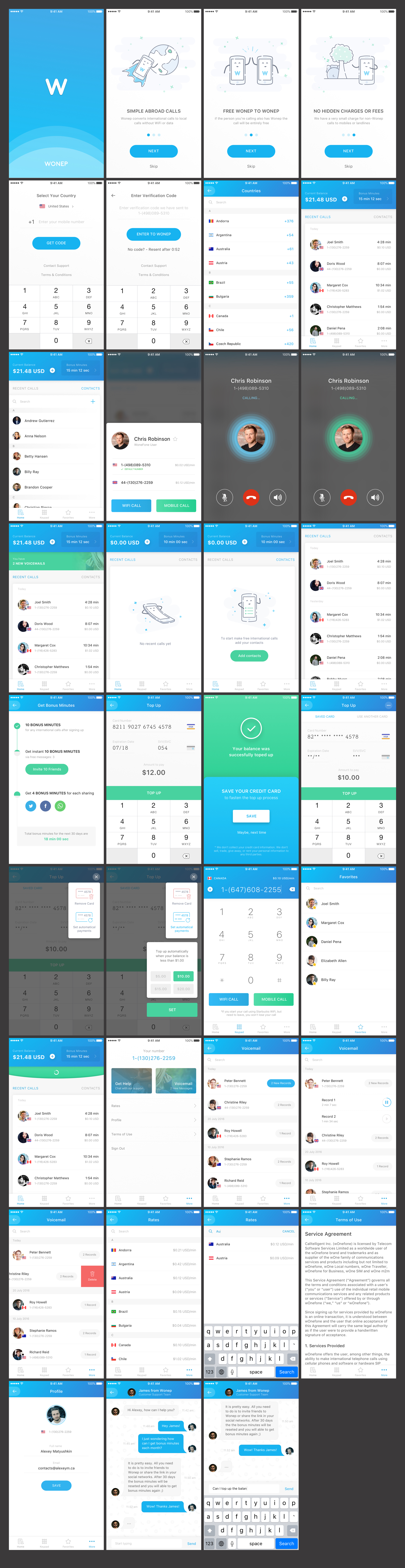 Wonep - Internationl Calling App UI Kit - UI kit represents a complete iOS app for making affordable international calls.