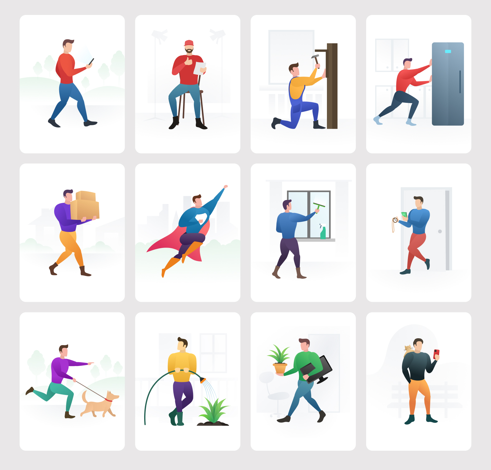 Your Home Helper - Free Illustrations Pack - Need to help with your home daily routine? You're welcome. Just download and use or edit our new illustrations pack of personal home helpers.