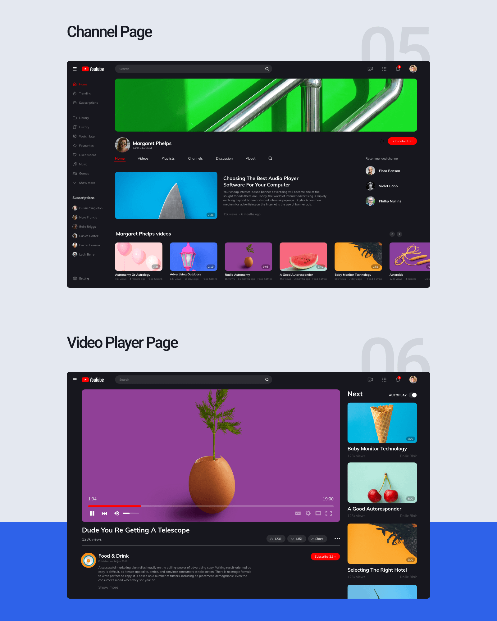 YouTube Redesign Concept - Introducing concept on YouTube redesign. In the new version of this web service, we made it more clear and minimalistic, so any user who will visit the website will easily manage to use it.